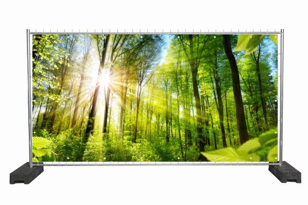 Bauzaun Werbeplane mit Waldmotiv