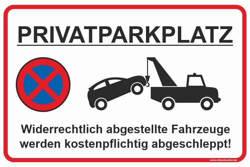 Parkverbotsschild - Privatparkplatz